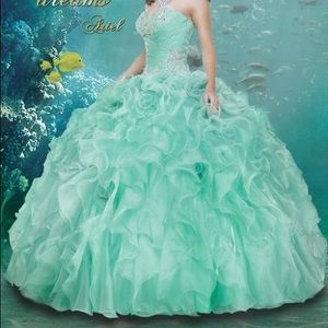 Disney Royal Ball Quinceanera Ariel Mint Dress 4